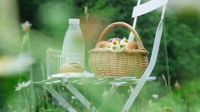 Mitten in einem Kamillenrasen auf einem weißen Stuhl ist eine Flasche Milch, Korb von Äpfeln und Brot stock video footage