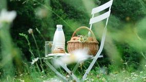 Mitten in einem Kamillenrasen auf einem weißen Stuhl ist eine Flasche Milch, Korb von Äpfeln und Brot stock video