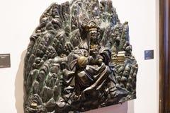 Mitten för utställningen för Gaudi ` s framlägger en permanent utställning som går med Gaudi var den personliga tillhörigheter oc arkivbild