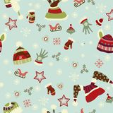 Mitten, hats, gloves, seamless pattern. Royalty Free Stock Photos