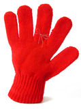 Mitten with reminder string. Reminder string tied around finger of mitten stock photography