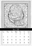 Mitten with scenery doodle pattern, calendar August 2018. Coloring book page for adults and children with landscape doodle illustration. Handdrawn monochrome Stock Image