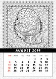 Mitten with scenery doodle pattern, calendar August 2019. Coloring book page for adults and children with landscape doodle illustration. Handdrawn monochrome vector illustration