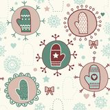 Mitten seamless pattern. Royalty Free Stock Photo