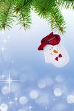 Mitten Snowman on the Christmas Tree Royalty Free Stock Image