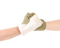 2 mittens рук в встряхивании руки Стоковое Фото
