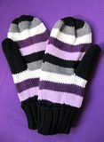 Mittens. A close up of a pair of knit, striped mittens on a purple background Royalty Free Stock Photography