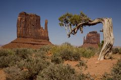 The Mittens. Shot of the two mittens in Monument Valley, Utah royalty free stock photos