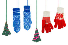 Mittens and Christmas tree toy Stock Images
