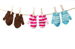 Mittens on a Clothes Line Royalty Free Stock Photo