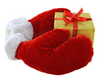 Mittens with gift Stock Image