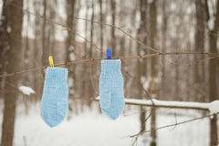 Mittens hanging by a thread. In winter outside. Winter symbol Stock Photography
