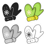 Mittens icon in cartoon style isolated on white background. Ski resort symbol stock vector illustration. Mittens icon in cartoon style isolated on white Stock Photography