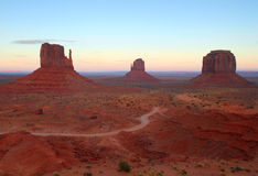 The Mittens in Monument Valley at sunrise Royalty Free Stock Photography