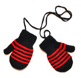 Mittens pretos com listra vermelha Fotografia de Stock