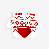 Mittens with red heart Stock Photography