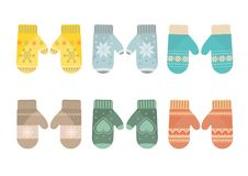 Mittens set in pastel colors Stock Photo