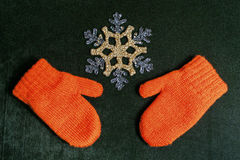 Mittens and snowflake Royalty Free Stock Image