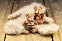 Mittens and Teddy bear on wooden background Stock Images