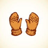 Mittens. Vector Drawing Stock Images