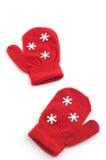 Mittens vermelhos Fotografia de Stock