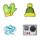 Mittens, warm hat, ski piste, motion camera. Ski resort set collection icons in cartoon style vector symbol stock Royalty Free Stock Images