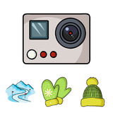 Mittens, warm hat, ski piste, motion camera. Ski resort set collection icons in cartoon style vector symbol stock. Illustration Stock Images
