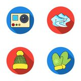 Mittens, warm hat, ski piste, motion camera. Ski resort set collection icons in flat style vector symbol stock Stock Photography