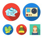 Mittens, warm hat, ski piste, motion camera. Ski resort set collection icons in flat style vector symbol stock. Illustration Royalty Free Stock Photo