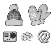 Mittens, warm hat, ski piste, motion camera. Ski resort set collection icons in monochrome style vector symbol stock. Illustration Stock Photography