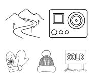 Mittens, warm hat, ski piste, motion camera. Ski resort set collection icons in outline style vector symbol stock. Illustration Stock Images