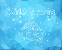 Mittens On Winter Sparkles Abstract Background Stock Images