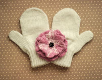 Mittens and wool flower Stock Photography