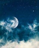 Mitternachtsnebel und Mond Stockfotografie