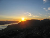 Mitternachtssonne in den Lofoten-Inseln Stockfotos