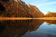 Mittersee lake. Autumn reflections. Royalty Free Stock Photography