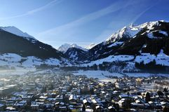 Mittersill. Aerial view on Mittersil village and Hohe Tauern mountains in Austria Royalty Free Stock Photo