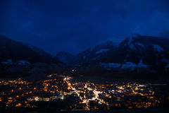 Mittersill, Pinzgau, Austria. Night photo of the town of Mittersill, located in the Pinzgau district, Austria Royalty Free Stock Photo