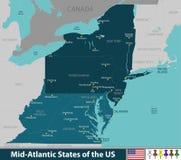 Mittlere atlantische Staaten der Vereinigten Staaten Lizenzfreies Stockbild