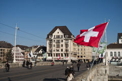 Mittlere Brücke Bridge with Switzerland flag Royalty Free Stock Photo