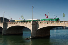 Mittlere Brücke bridge with tramway on Rhine River Stock Images