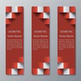 Mittlere Breite der geometrischen vertikalen rechteckigen Fahnen mit Effekt 3D für eine Geschäftswebsite Stockbild