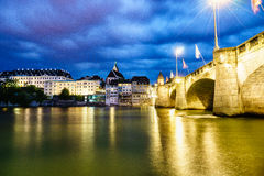 Mittlere Bridge and Basel waterfront, Switzerland Stock Images