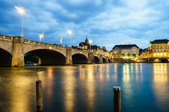 Mittlere bridge over Rhine river, Basel, Switzerland. Mittlere bridge over Rhine river at sunset, Basel, Switzerland Stock Photo