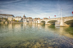 Mittlere bridge over Rhine river, Basel, Switzerland. Royalty Free Stock Photo