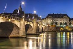Mittlere bro över Rhine River på solnedgången, Basel Fotografering för Bildbyråer