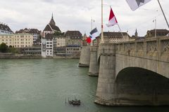 Mittlere brucke brug, Bazel Royalty-vrije Stock Foto's