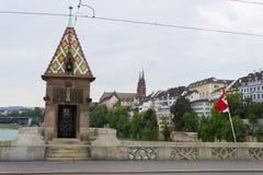 Mittlere bruckebro, Basel Fotografering för Bildbyråer