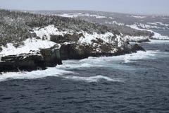 Mittlere Bucht-Winterküstenlinie, Avalon-Region Neufundland lizenzfreies stockbild