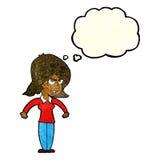 mittlere Frau der Karikatur mit Gedankenblase Lizenzfreies Stockbild